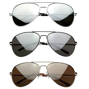 zeroUV - Premium Mirrored Aviator Top Gun Sunglasses w/ Spring Loaded Temples