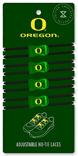 University of Oregon - Elastic No-Tie Adjustable Laces, Perfect for Fans, Kids, Adults and Athletes. One size fits all. (Green & Black / Yellow Logo)