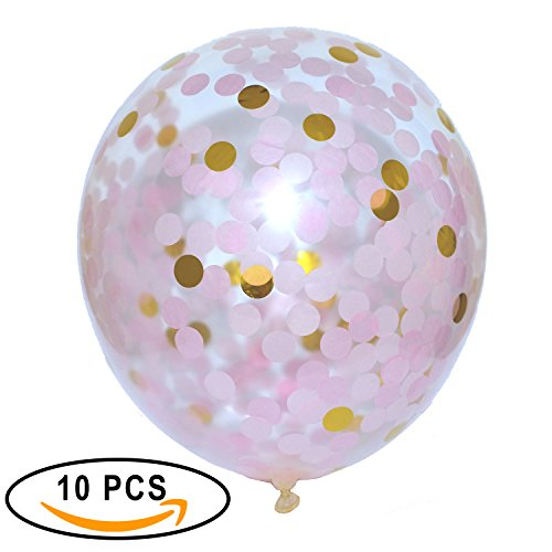 Fiesta Stop Confetti Balloons Pink and Gold Color 18'' Pre-Filled Confetti Balloons, 10 PC Pack, For Wedding,Proposal,Birthday Parties,Holiday and More!