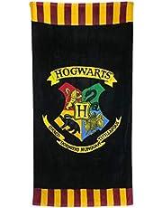 Groovy Harry Potter Hogwart ręcznik kąpielowy / plażowy - oficjalny, bawełna, czarny, 75 x 150 cm