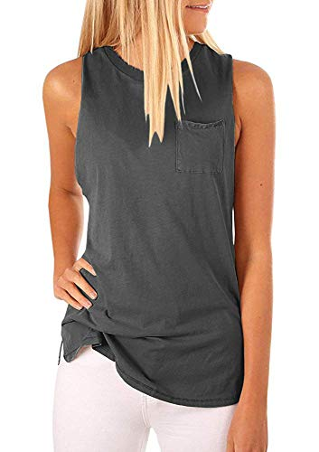 Women's High Neck Tank Top Sleeveless Blouse Plain T Shirts Summer Cami Tops (Deep Grey, M)