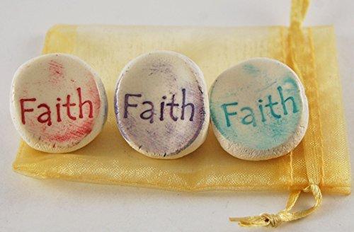 Faith Ceramic Word Stone - Set of 3 with Organza ()