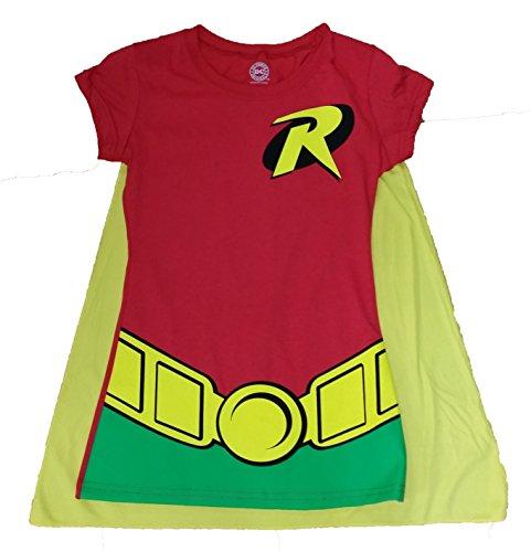 [DC Comics Batman Robin Costume with Cape Graphic T-Shirt - X-Large] (Batman And Robin Movie Costumes)