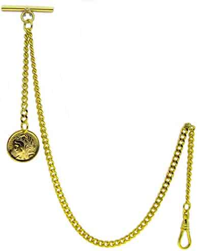 Gold Albert Chain Pocket Watch Curb Link Chain Fob T Bar + Swivel Clip + Ancient France Coin Design Medal Fob AC78