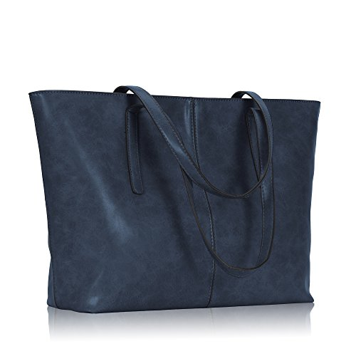 Hynes Victory Women Large Satchel Handbags Shoulder Tote Bag with Pouch Navy Blue Navy Leather Bag