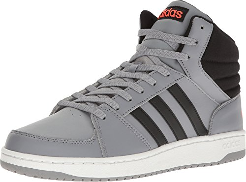 adidas NEO Men's VS Hoops Mid Basketball Shoe, Grey/Black/Infrared, 8.5 M US