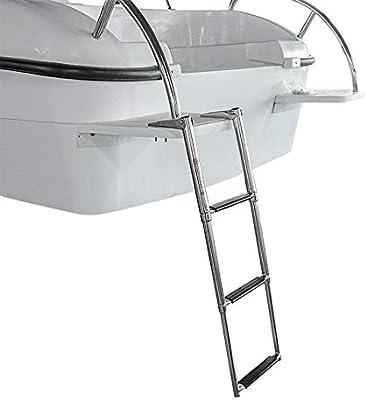 MAOMEI 3 Escalera Plegable de Acero Inoxidable telescópica Marina del Barco de la Nadada Paso a Paso por la Plataforma: Amazon.es: Hogar