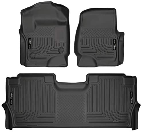 Husky Liners – 94061 Fits 2017-20 Ford F-250/F-350 Crew Cab – with factory storage box Weatherbeater Front & 2nd Seat Floor Mats Black