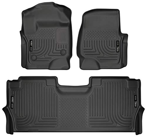 2017 Exclusive Car Mats - Husky Liners Fits 2017-19 Ford F-250/F-350 Crew Cab - with factory storage box Weatherbeater Front & 2nd Seat Floor Mats