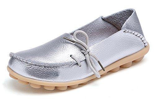 VenusCelia Damen Comfort Walking Büro Flacher Loafer Silber