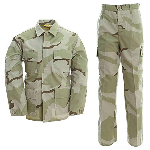 BDU Combat Suit Men's Hunting Costume Uniform Shirt and Pants for Army Military Airsoft Paintball Tricolor Desert L