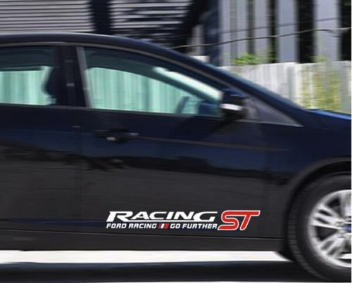 1 Pair ST Racing Car Sticker Emblem Badge Sport Logo for Ford Focus Exterior Accessories Automotive Decals (White)