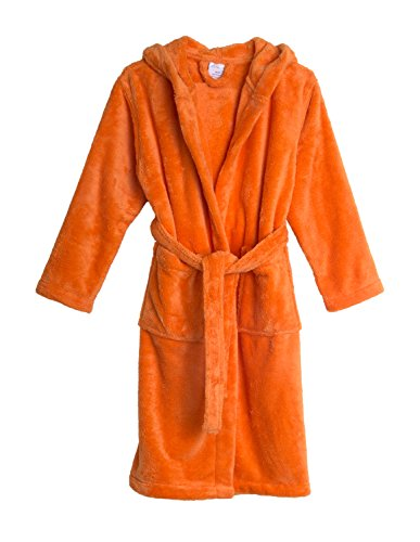 TowelSelections Big Girls' Hooded Plush Robe Soft Fleece Bathrobe Size 8 Tangerine (Orange Robe)