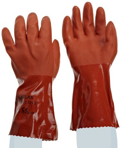 SHOWA Atlas 620 Fully Coated Double-Dipped PVC Glove, Seamless Knitted Liner, Chemical Resistant, 12 Length, Large (Pack of 12 Pairs) by Showa Best Glove