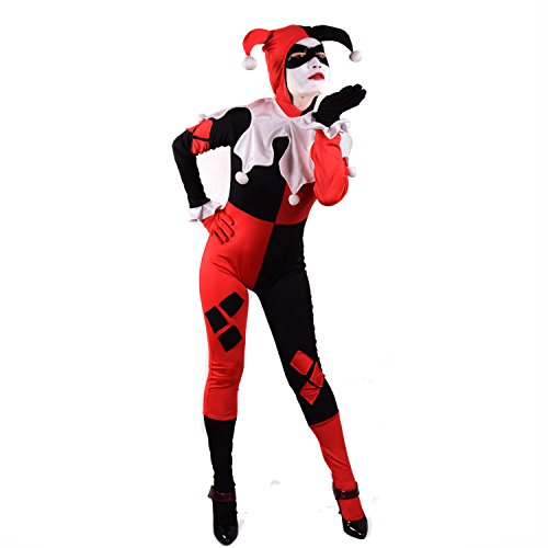 [Harley Quinn Costume Bodysuit Catsuit (L, Red)] (Red Jumpsuit Costume)