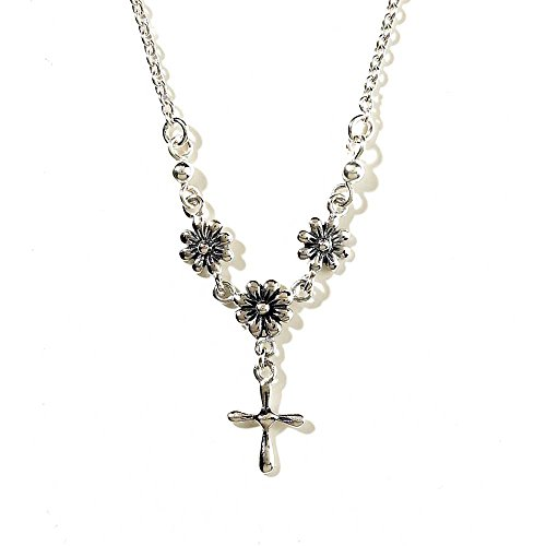 Three Person Group Costume Ideas (Daisy Heart Cross Women's Silver-Plated 18 Inch Chain Inspirational Necklace)