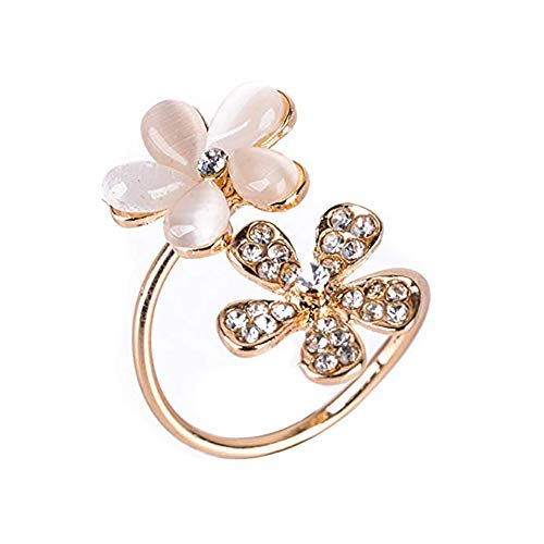 - Topdo Daisy Flower Open Ring Opal Flower Rhinestone Ring Adjustable Ring Crystal Ring Diamond Bend Rings Wedding Jewelry for Lady Girls Birthday Gift