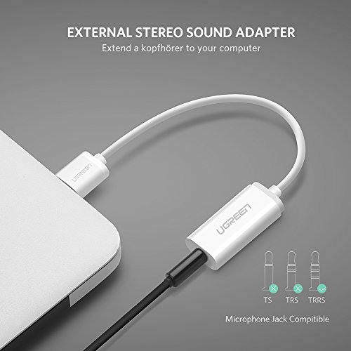 UGREEN USB Sound Card External Converter USB Audio Adapter with 3.5mm Aux Stereo for Headset, PC, Laptops, Desktops, PS4, Windows, Mac, and Linux White