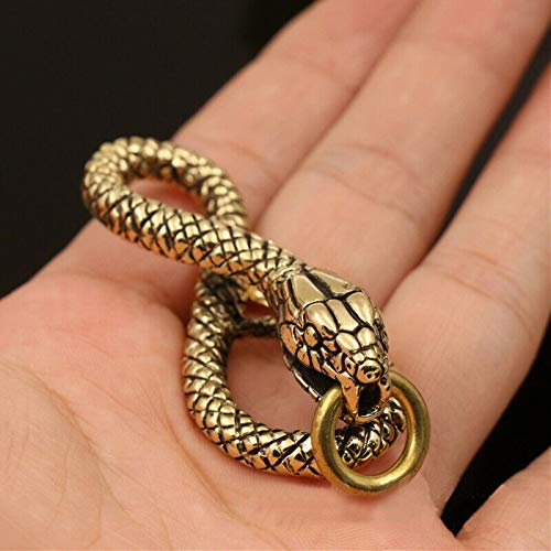 Buckes - 1 Piece Solid Brass Belt Hook Retro Snake Shape Keychain Fob Clip Key Ring Wallet Chain with O Ring Charm Pendant Decor Gift