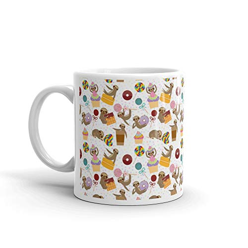 Seamless Pattern Funny And Cute Smiling Threetoed Sloth Collection With Pink Cake Pops Donut Lollipop Coffee Waffle Macaroon Spr Amazon Water Mug Ceramic 11 Oz Cup