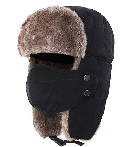 Connectyle Outdoor Trooper Trapper Hat Warm Winter Hunting Hats with Ear Flaps Mask Ushanka Hat Black