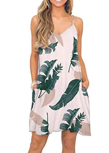 MISFAY Women's Summer Spaghetti Strap Casual Swing Tank Beach Cover Up Dress with Pockets (2XL, Pink Dark - Green Beach