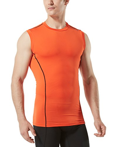 TSLA TM-MUA05-ORG_Large Men's R Neck Sleeveless Muscle Tank Dry Compression Baselayer MUA05