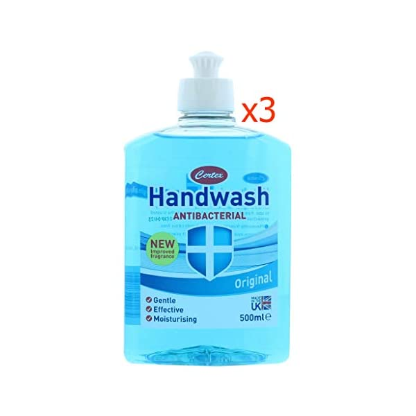 3 Pcs Certex Blue Original Antibacterial Hand Wash 500ml Gentle Pump Liquid Soap For Use In Home Office Restaurants Etc