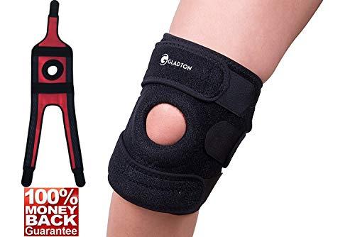 Gladton Large, XL to XXL to XXXL Knee Brace Support for Meniscus Tear, Arthritis, ACL, MCL, Pain Relief, Sports. Best Knee Braces for Plus Size Big Large Legs. (XXL to XXXL (22 - 25))