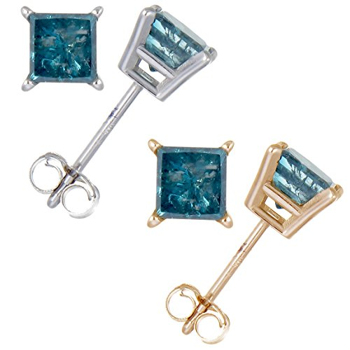 1/2 cttw Princess Cut Blue Dia