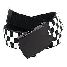 Classic Black Men's Military Slider Belt Buckle with Canvas Web Belt Medium Checkered