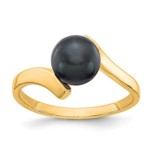 Jewel Tie Size 6-14k Yellow Gold Black FW Cultured Pearl Ring (2mm)