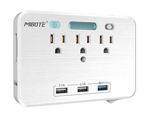 Wall Mount Surge Protector Power Strip with Quick Charger 3.0 3 USB Ports and 3 AC Outlet and 2 Slide Out Phone Holders by Mibote