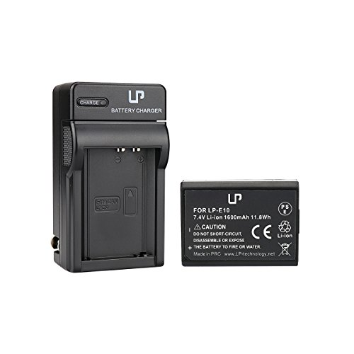 LP-E10 Battery and Charger for Canon EOS Rebel T3, T5, T6, 1100D, 1200D, 1300D, Kiss X50, X70 Cameras | Rechargeable Li-Ion Battery