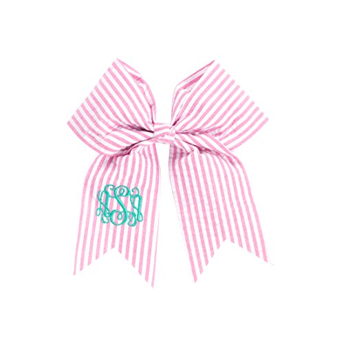 Easter Outfit Seersucker Hair Bow for Girls with Alligator Clip Can Be Monogrammed (Monogrammed Pink Seersucker)