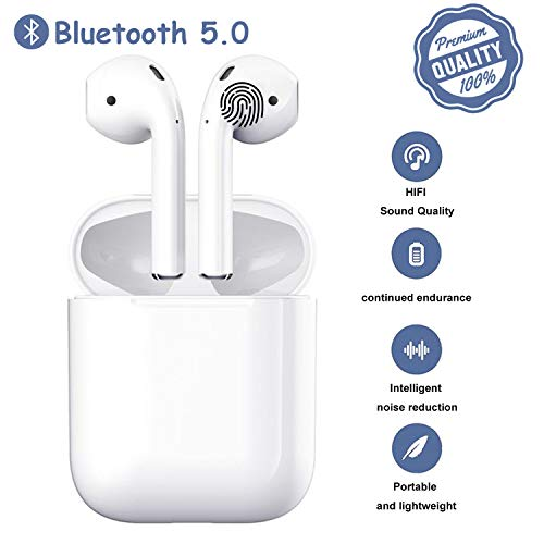 Bluetooth 5.0 Headsets in Dual Mic,20H Cycle Playtime in-Ear True Wireless Earbuds,with Hi-Fi Stereo,Button Control,IPX5 Waterproof Sports Headset,Auto Pairing for iPhone Airpods Airpod/Android