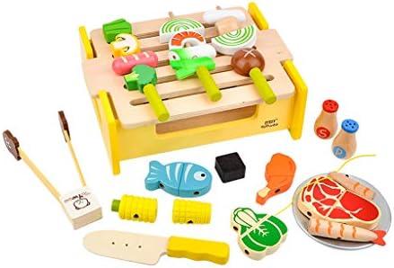 perfeclan Kinderküche Holz Grill Barbecue Lebensmittel Küchenspielzeug für Jungen und Mädchen