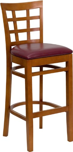Flash Furniture HERCULES Series Cherry Finished Window Back Wooden Restaurant Bar Stool with Burgundy Vinyl (Cherry Upholstered Game)