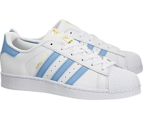 Image of Adidas Youth Superstar Foundation White Blue Leather Trainers 6.5 US