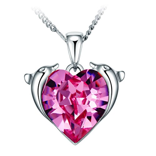 k Heart Crystal Twelve Constellations Pisces Shining Silver Necklace 17.72 Inches Suitable Females ()