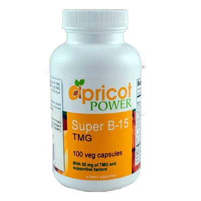 Apricot Power Super B-15 TMG (100 Capsules) - Safe, Non-Toxic, Water Soluble, Oxygen Delivery Nutrient Pills for Energy, Focus and Stamina