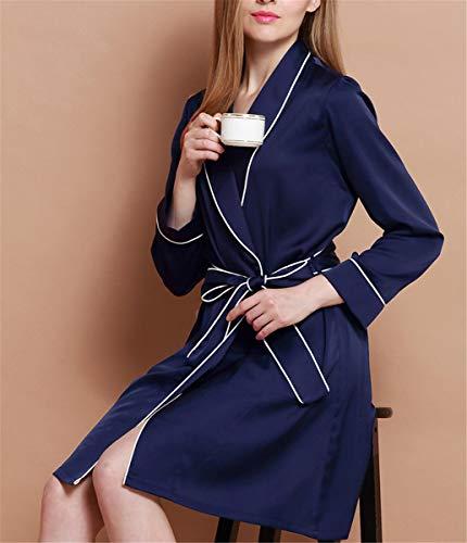 Camisón Otoño Azul Mujer Servicio Manga Y Seda De Larga Primavera Doméstico Pijamas Guyi 5wSaa
