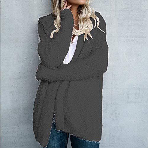 Blazer Longues Manteau Casual Gris Top Blouson Outwear Hiver Veste Cardigan Unie Manches Capuche Dihope Vintage Automne Jacket Coat Femme Loisir Fonc Couleur Chaud Ouverte nqUw0OC