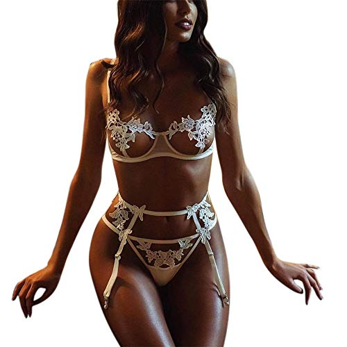 Lingerie Set for Women, Balakie Lace Push Up Bra and G-String Panty with Garter Belt 3 Piece Lingerie Set(White,Tag Size S= US 4) ()