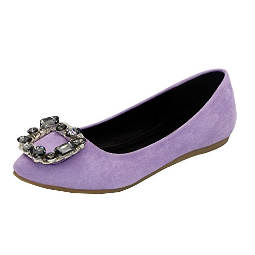 AalarDom Womens Frosted Pull-On Pointed-Toe No-Heel Solid Imitated Suede Flats-Shoes Purple-zircon iKKhsannQ
