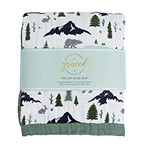 """Softest Large 4-Layer Bamboo Muslin Quilt, 47"""" x 47"""" Bamboo + Cotton Blanket by Graced Soft Luxuries"""