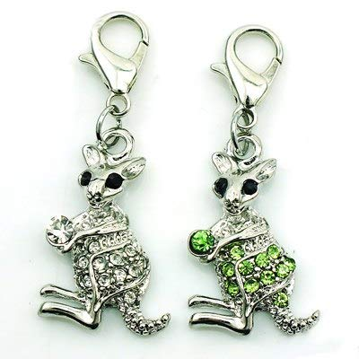 Charms - Fashion Kangaroo Charms Dangle Rhinestone Animals Lobster Clasp Charms DIY Jewelry Making Accessories - by Mct12-1 PCs