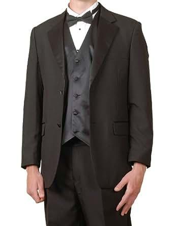 New Mens 6 Piece (6pc) Complete Black Tuxedo & Single Breasted Vest