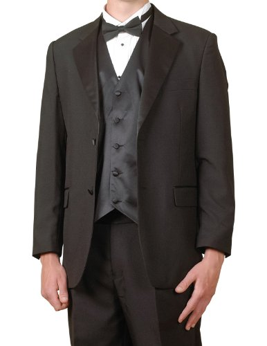 New Mens 6 Piece (6pc) Complete Black Tuxedo & Single Breasted Vest - Complete Tuxedo Shirt Tie Cummerbund