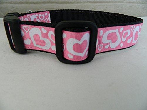 Schmoopsie Couture Valentine's Day White Sparkle Hearts on Hot Pink Dog Collar (Large (15